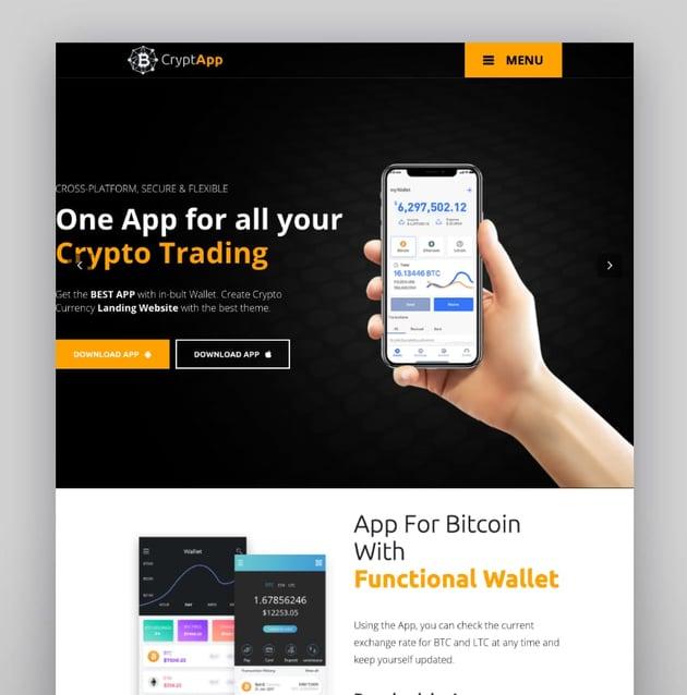 CryptApp—Landing Page