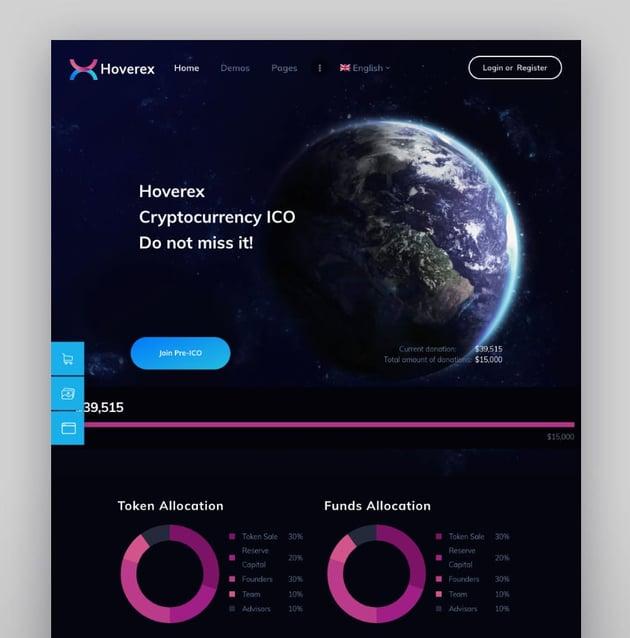 Hoverex—Cryptocurrency and ICO WordPress Theme