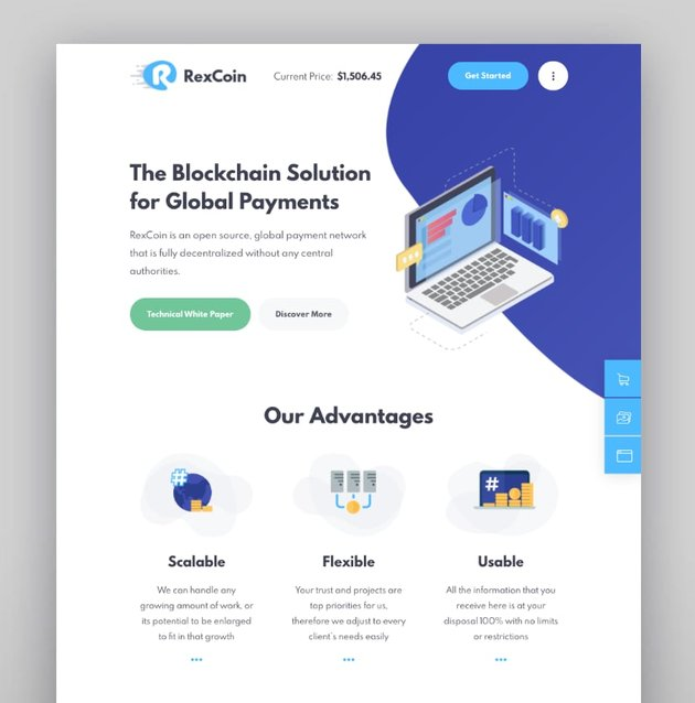 RexCoin—Multi-Purpose Cryptocurrency and Coin ICO WordPress Theme