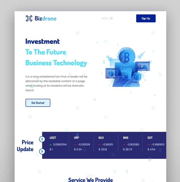 Bizdrone - Tema de WordPress para criptomonedas y página de aterrizaje de ICO