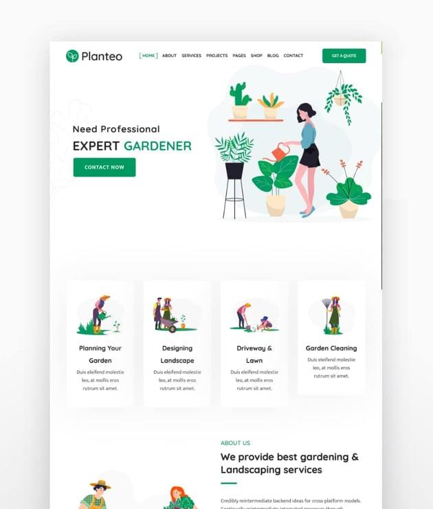 Planteo - Gardening and Landscaping WordPress Theme