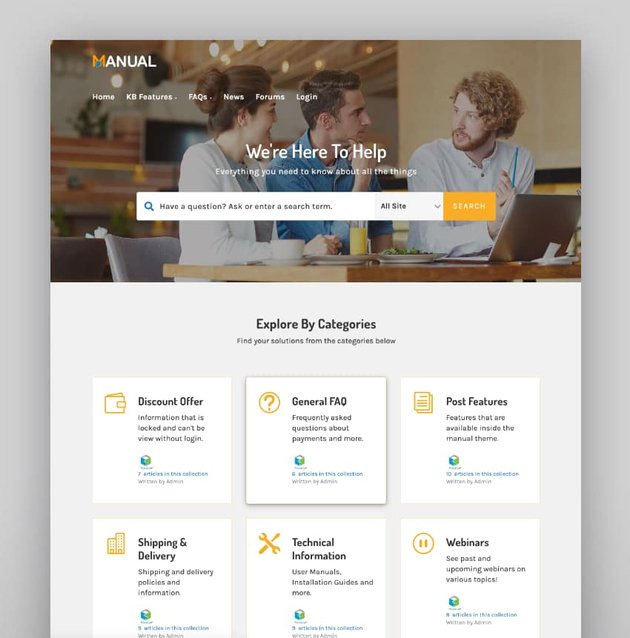 Manual—Documentation, Knowledge Base and Education WordPress Theme