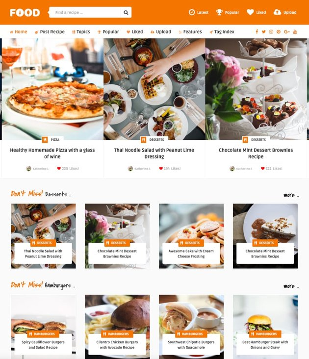 Tasty Food—Recipes and Food Blog WordPress Theme