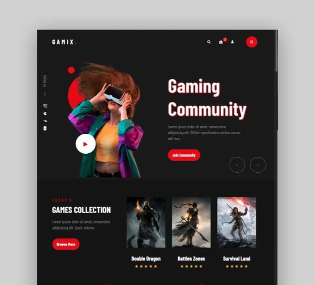 Gamix - Plantillas de videojuegos, eSports y gaming en HTML5