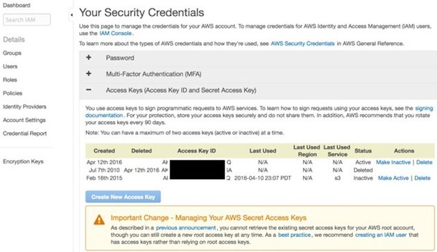 Yii AWS S3 - Security Credentials and Access Keys