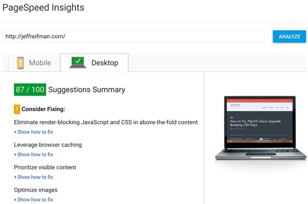 Google PageSpeed Module - After Test 87 for Desktop PageSpeed