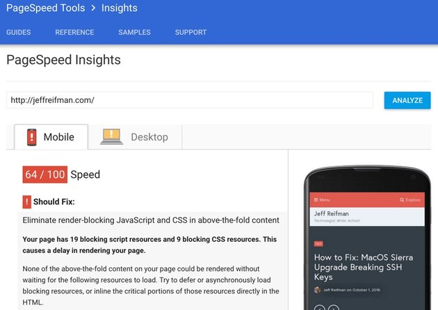 Google PageSpeed Module - Before Test 64 for Mobile PageSpeed