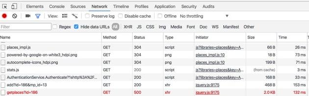 Startups Ajax - Google Chrome Browser Network Tab
