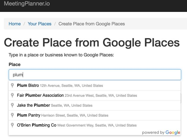 Yii Ajax - Google Places Dropdown List