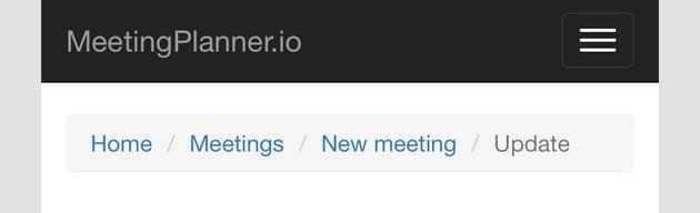 Meeting Planner Responsive Web - Desktop Breadcrumbs
