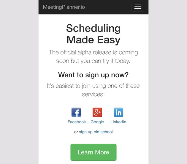 Meeting Planner Responsive Web - Home Page with Text Wrap