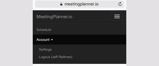 Meeting Planner Responsive Web - Responsive Dropdown Menu