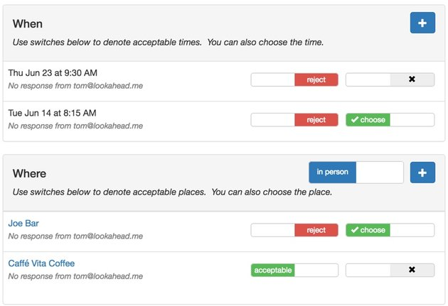 Meeting Planner Responsive Web - Desktop Layout of Times and Places Form
