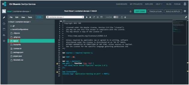 IBM BlueMix and DevOps - appjs file in viewer