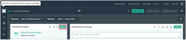 IBM BlueMix and DevOps - Sync the changes with the master branch