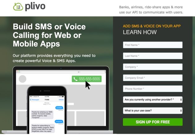 Building Startups Text and SMS - Plivo Home Page
