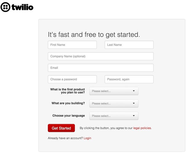 Building Startups Text and SMS - Twilio Sign Up