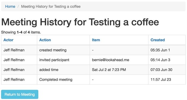 Build Your Startup Advanced Scheduling - Viewing the meeting history of events