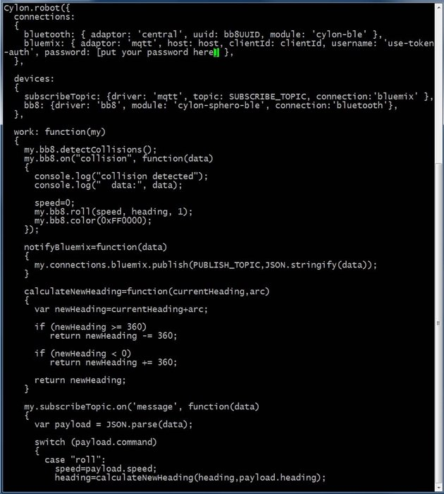 IBM Bluemix IoT Arm Gestures - Cylonjs JavaScript code from the Demo