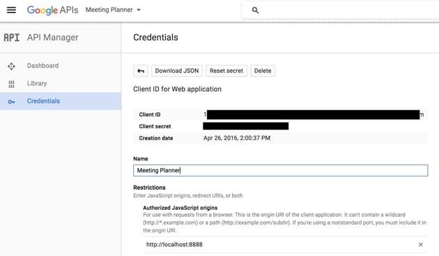 Building Startups Google Contacts API - Google API Credentials Form