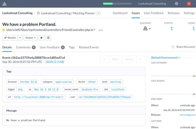 Building Startups Logging - Sample Error Report in Sentry We have a problem Portland