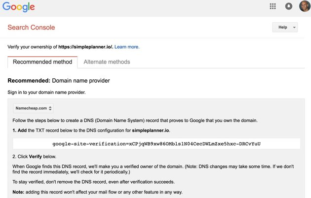 Building Your Startup Multiple Domains - Google Search Console Verification TXT Record