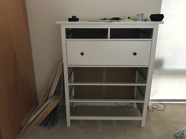 Building Your Startup Multiple Domains - Photo of my IKEA dresser with one drawer built and others not built