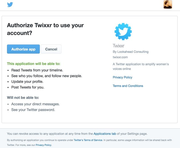 Building with Twitter API OAuth Authorize Redirect