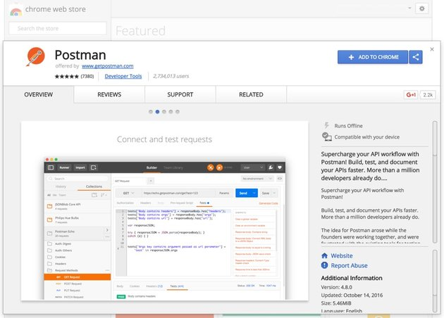 Programming With Yii2 Chrome Directory Postman Extension Landing Page