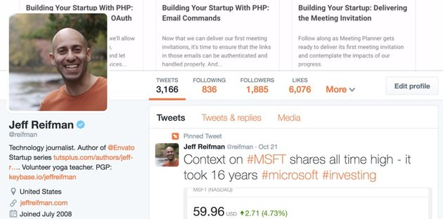 Building With the Twitter API reifman profile on twitter with verified checkmark