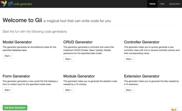 Building Startups - Approaching Major Features - The Gii Scaffolding Menu
