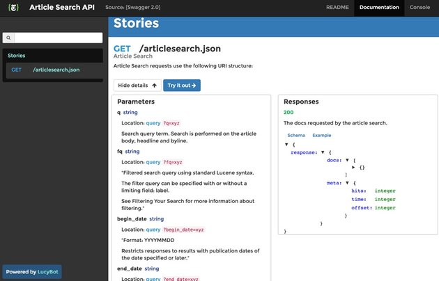 New York Times API - Documentation of articlesearch json