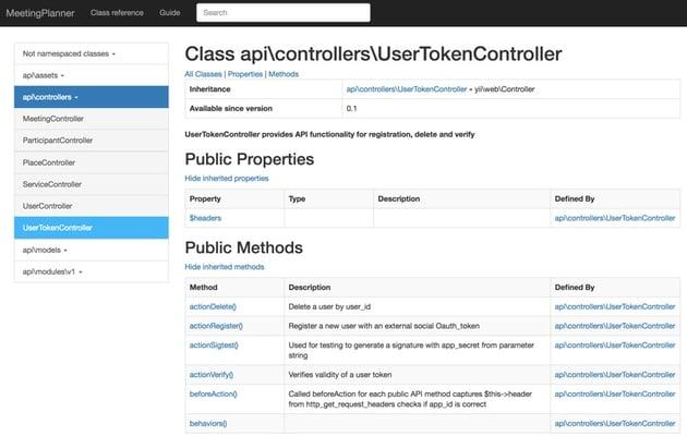 Programming With Yii Generating Documentation - UserTokenController Example