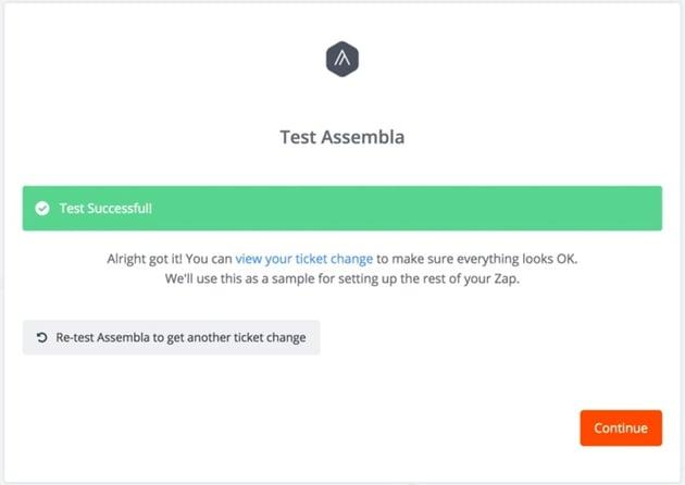 Assembla Zapier Automated Workflow - Connection Test Succes
