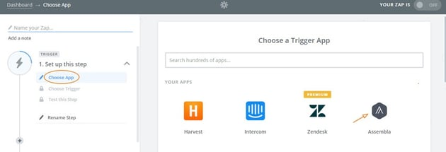Assembla Zapier Automated Workflow - Choose Assembla as the Trigger App