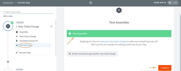 Assembla Zapier Automated Workflow - Choose Assembla Trigger for Quickbooks