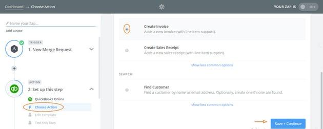 Assembla Zapier Automated Workflow - Quickbooks action Create Invoice