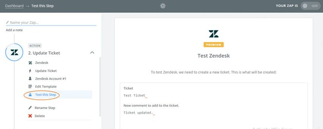 Assembla Zapier Automated Workflow - Test Zendesk by creating a new ticket