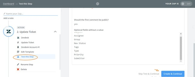 Assembla Zapier Automated Workflow - Test Zendesk by creating a new ticket continued