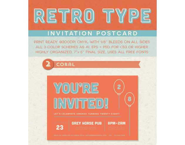 Retro Type Invitation Postcard