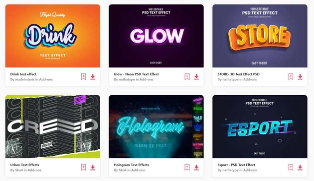 Hundreds of Text Effects and Thousands of Fonts available on Envato Elements