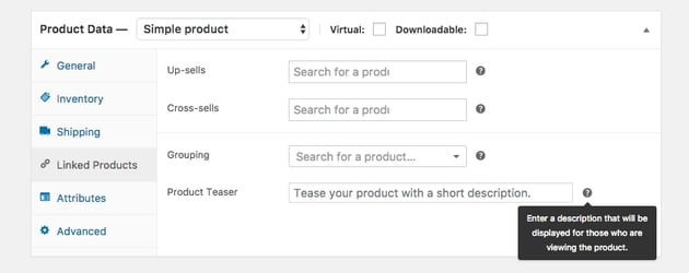 Our teaser field on the Linked Products
