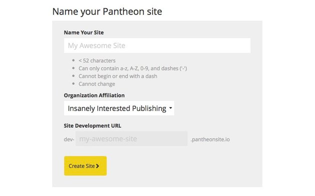 Name Your Pantheon site