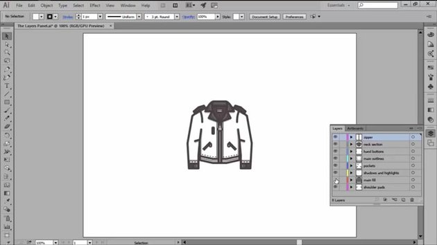 Showing and Hiding Layers with the Eye Icon in Illustrator