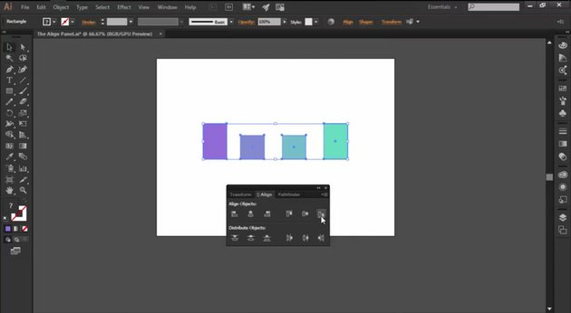 Using the Align Objects function in the Align Panel