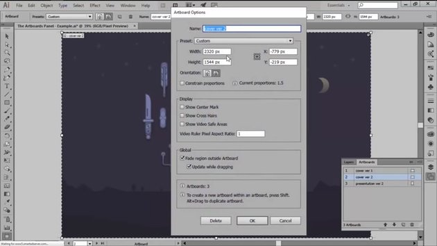 Adjusting the Width Height and Orientation in the Artboard Panel