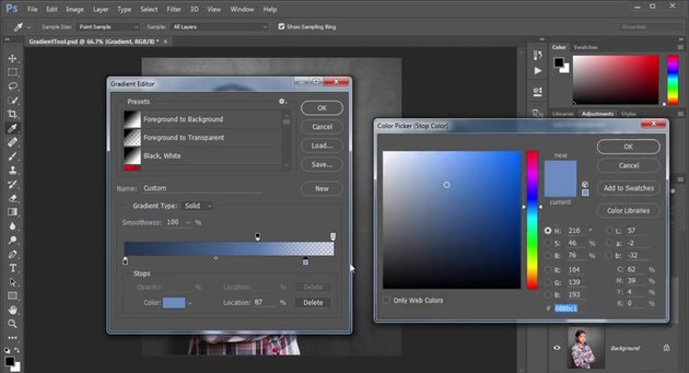 Assigning Colors to Gradients with the Control Bar