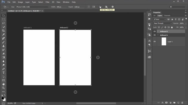Add Artboards with the New Artboard Icon