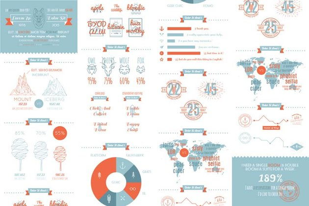 Hipster Vector Infographics Set
