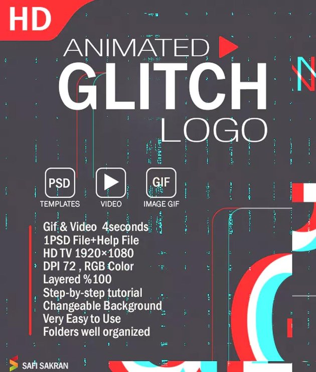 Animated Glitch Logo Photoshop Aesthetic PSD Text Effect